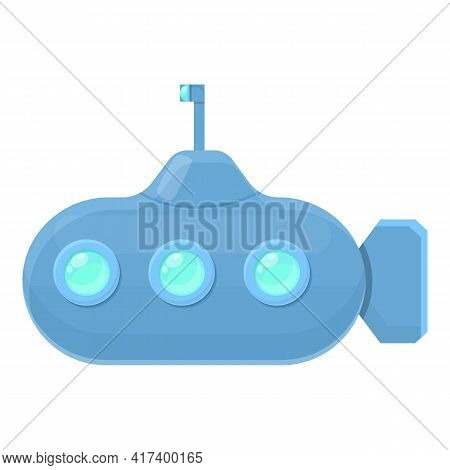 Metal Submarine Icon. Cartoon Of Metal Submarine Vector Icon For Web Design Isolated On White Backgr