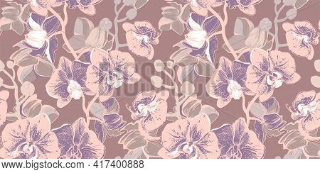 Sensual Tropical Seamless Pattern With Hand Drawn Flowers Orchid In Nude Colors. Pastel Floral Vecto