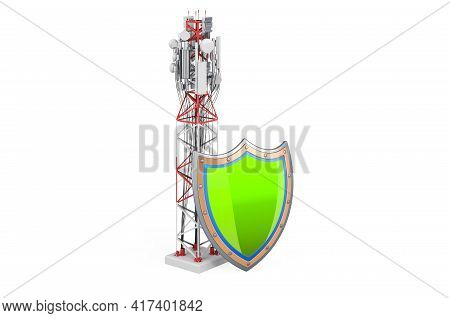 Mobile Tower With Cellular Phone Antennas With Shield. 3d Rendering Isolated On White Background