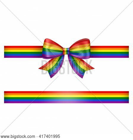 Bow And Ribbon With Rainbow Colors Pride Day Bow