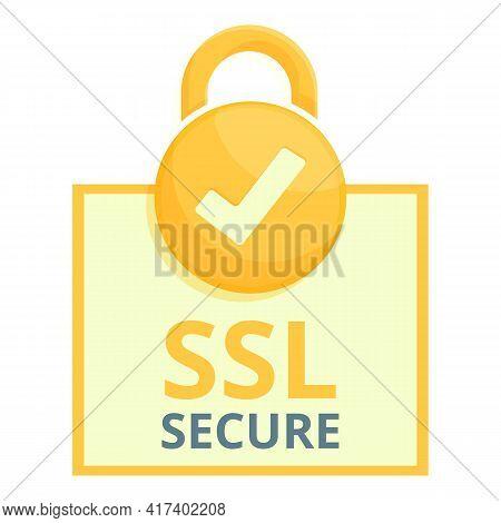 Padlock Secure Ssl Certificate Icon. Cartoon Of Padlock Secure Ssl Certificate Vector Icon For Web D