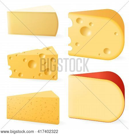 Various Types Of Cheese. Vector Set Isolated On White Background. Parmesan, Yellow Cheddar, Brie, Ed