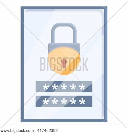Tablet Password Protection Icon. Cartoon Of Tablet Password Protection Vector Icon For Web Design Is