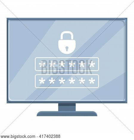 Pc Password Protection Icon. Cartoon Of Pc Password Protection Vector Icon For Web Design Isolated O