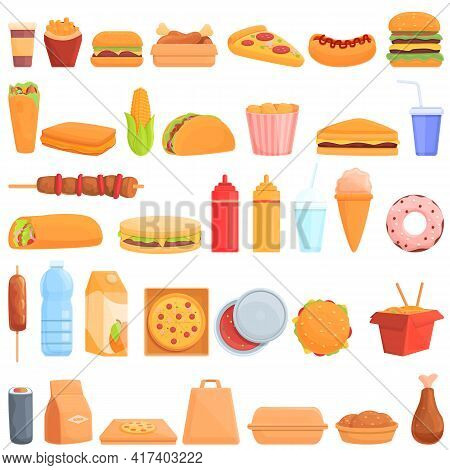 Takeaway Food Icons Set. Cartoon Set Of Takeaway Food Vector Icons For Web Design