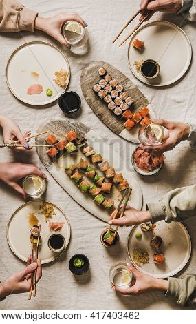 Lockdown Home Dinner With Japanese Sushi From Delivery Takeaway Service