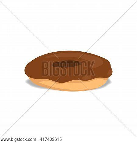 Chocolate Plain Donut Or Doughnut Doodle Vector Illustration