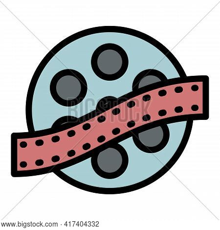 Movie Reel Icon. Outline Movie Reel Vector Icon For Web Design Isolated On White Background