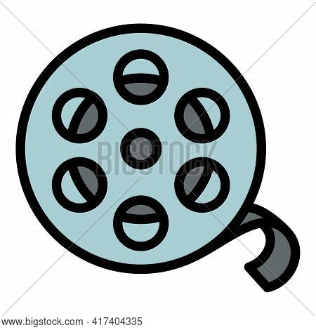 Film Reel Icon. Outline Film Reel Vector Icon For Web Design Isolated On White Background
