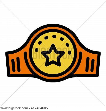 Champion Box Belt Icon. Outline Champion Box Belt Vector Icon For Web Design Isolated On White Backg