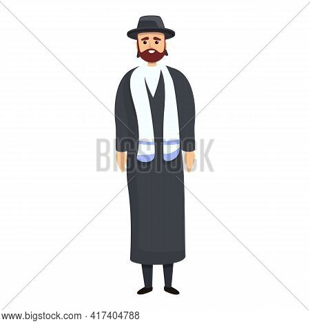 Jewish Priest Icon. Cartoon Of Jewish Priest Vector Icon For Web Design Isolated On White Background