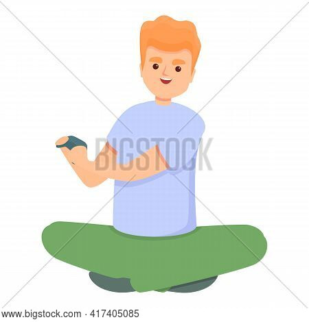 Smiling Boy Play Video Games Icon. Cartoon Of Smiling Boy Play Video Games Vector Icon For Web Desig
