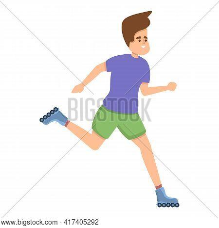 Boy Rollerblading Activity Icon. Cartoon Of Boy Rollerblading Activity Vector Icon For Web Design Is