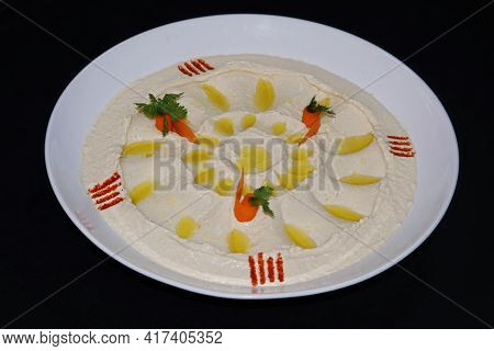 Traditional Lebanese Arabic Dip Food Hummus In A Bowl