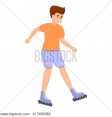Boy Happy Rollerblading Icon. Cartoon Of Boy Happy Rollerblading Vector Icon For Web Design Isolated