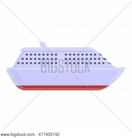 Cruise Liner Icon. Cartoon Of Cruise Liner Vector Icon For Web Design Isolated On White Background