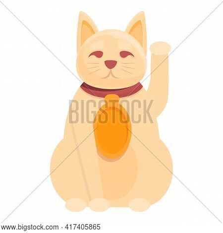 Asian Lucky Cat Icon. Cartoon Of Asian Lucky Cat Vector Icon For Web Design Isolated On White Backgr