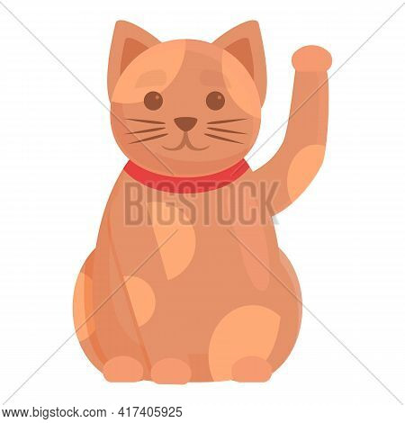 Japanese Lucky Cat Icon. Cartoon Of Japanese Lucky Cat Vector Icon For Web Design Isolated On White