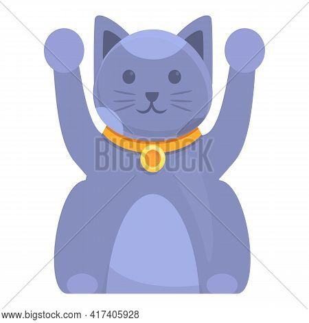 Kitty Lucky Cat Icon. Cartoon Of Kitty Lucky Cat Vector Icon For Web Design Isolated On White Backgr