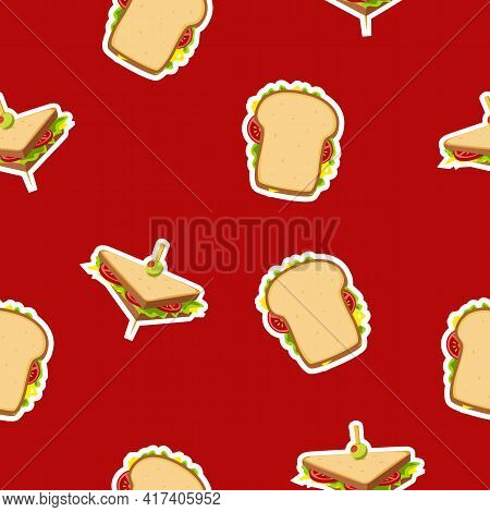 Sandwich Icon  Pattern On Delicious Red Background