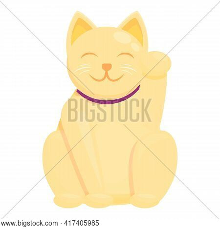 Oriental Lucky Cat Icon. Cartoon Of Oriental Lucky Cat Vector Icon For Web Design Isolated On White