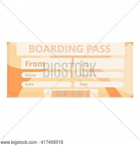 Flight Boarding Pass Icon. Cartoon Of Flight Boarding Pass Vector Icon For Web Design Isolated On Wh