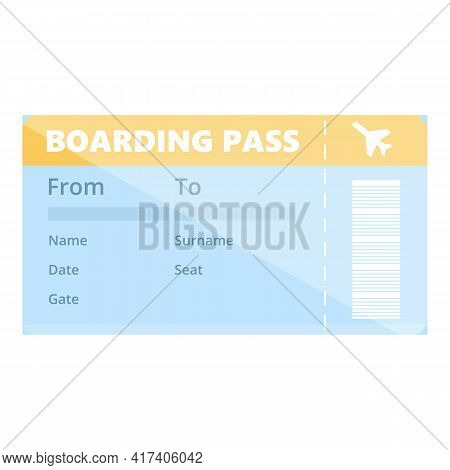 Trip Boarding Pass Icon. Cartoon Of Trip Boarding Pass Vector Icon For Web Design Isolated On White