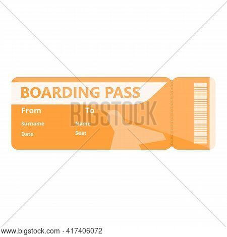 Coupon Boarding Pass Icon. Cartoon Of Coupon Boarding Pass Vector Icon For Web Design Isolated On Wh