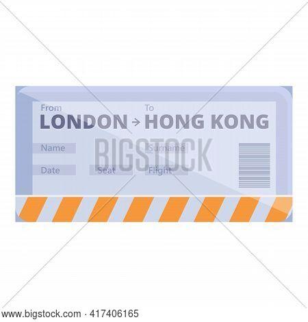 London Hong Kong Boarding Pass Icon. Cartoon Of London Hong Kong Boarding Pass Vector Icon For Web D
