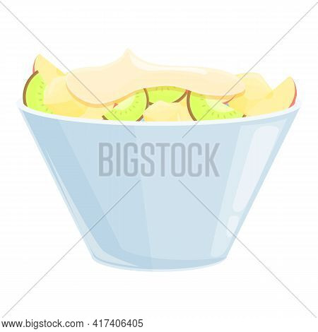 Bowl Fruit Salad Icon. Cartoon Of Bowl Fruit Salad Vector Icon For Web Design Isolated On White Back