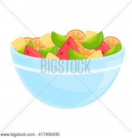 Tasty Fruit Salad Icon. Cartoon Of Tasty Fruit Salad Vector Icon For Web Design Isolated On White Ba