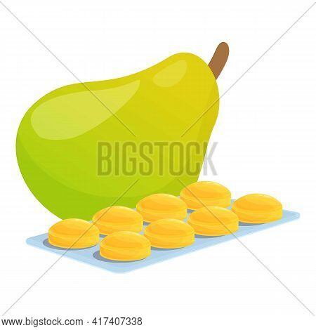 Pear Cough Drops Icon. Cartoon Of Pear Cough Drops Vector Icon For Web Design Isolated On White Back