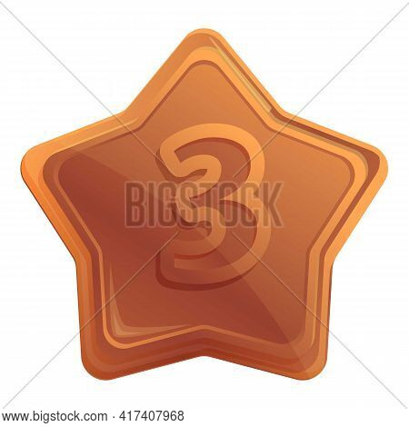 Bronze Place Star Icon. Cartoon Of Bronze Place Star Vector Icon For Web Design Isolated On White Ba