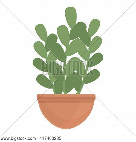 Stem Plant Pot Icon. Cartoon Of Stem Plant Pot Vector Icon For Web Design Isolated On White Backgrou
