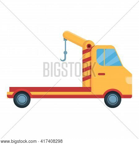 Tow Truck Icon. Cartoon Of Tow Truck Vector Icon For Web Design Isolated On White Background