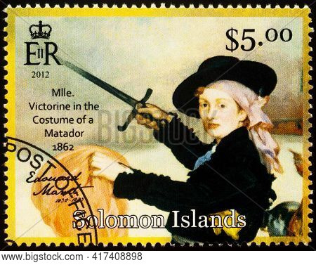 Moscow, Russia - April 15, 2021: Stamp Printed In Solomon Islands Shows Portrait Of Mademoiselle Vic