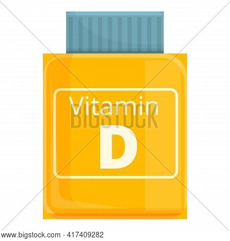 Vitamin D Bottle Icon. Cartoon Of Vitamin D Bottle Vector Icon For Web Design Isolated On White Back