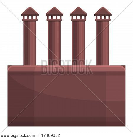 Old Factory Chimney Icon. Cartoon Of Old Factory Chimney Vector Icon For Web Design Isolated On Whit
