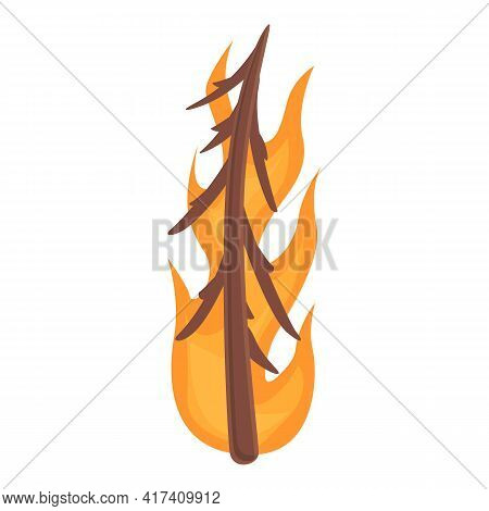 Burning Fir Tree Icon. Cartoon Of Burning Fir Tree Vector Icon For Web Design Isolated On White Back