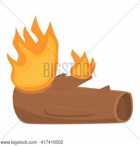 Burning Old Tree Trunk Icon. Cartoon Of Burning Old Tree Trunk Vector Icon For Web Design Isolated O