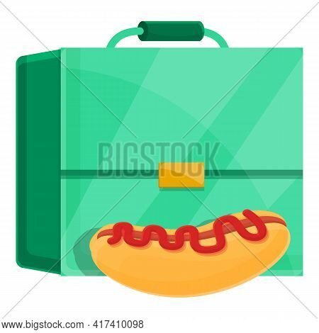 School Breakfast Hotdog Icon. Cartoon Of School Breakfast Hotdog Vector Icon For Web Design Isolated