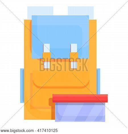 School Breakfast Full Backpack Icon. Cartoon Of School Breakfast Full Backpack Vector Icon For Web D