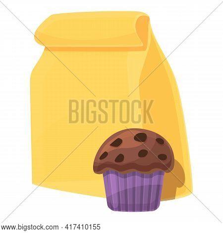 School Breakfast Cupcake Icon. Cartoon Of School Breakfast Cupcake Vector Icon For Web Design Isolat