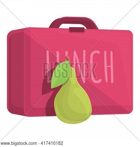 School Breakfast Green Pear Icon. Cartoon Of School Breakfast Green Pear Vector Icon For Web Design