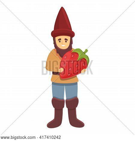 Garden Gnome With Strawberry Icon. Cartoon Of Garden Gnome With Strawberry Vector Icon For Web Desig