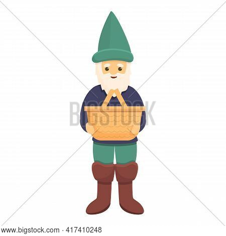 Garden Gnome With Basket Icon. Cartoon Of Garden Gnome With Basket Vector Icon For Web Design Isolat