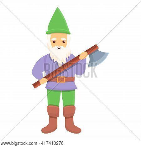 Garden Gnome With Battle Axe Icon. Cartoon Of Garden Gnome With Battle Axe Vector Icon For Web Desig