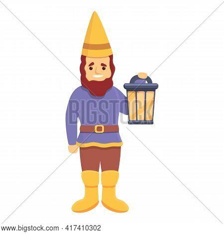 Garden Gnome With Lantern Icon. Cartoon Of Garden Gnome With Lantern Vector Icon For Web Design Isol