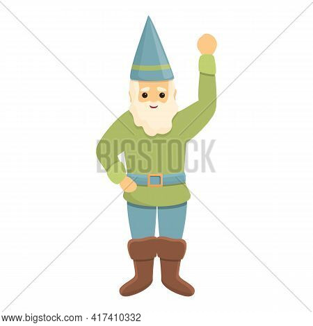 Garden Gnome Say Hello Icon. Cartoon Of Garden Gnome Say Hello Vector Icon For Web Design Isolated O