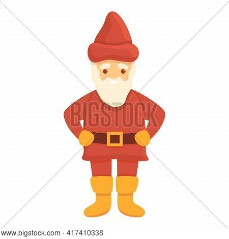 Old Garden Gnome Icon. Cartoon Of Old Garden Gnome Vector Icon For Web Design Isolated On White Back